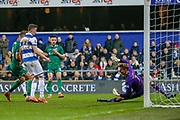 GOAL 0-1 Queens Park Rangers goalkeeper Joe Lumley (1) is beaten by Sheffield Wednesday defender Morgan Fox (3) during The FA Cup match between Queens Park Rangers and Sheffield Wednesday at the Kiyan Prince Foundation Stadium, London, England on 24 January 2020.