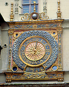 France, Normandy.  Rouen.  Large Clock face on a building in the old town