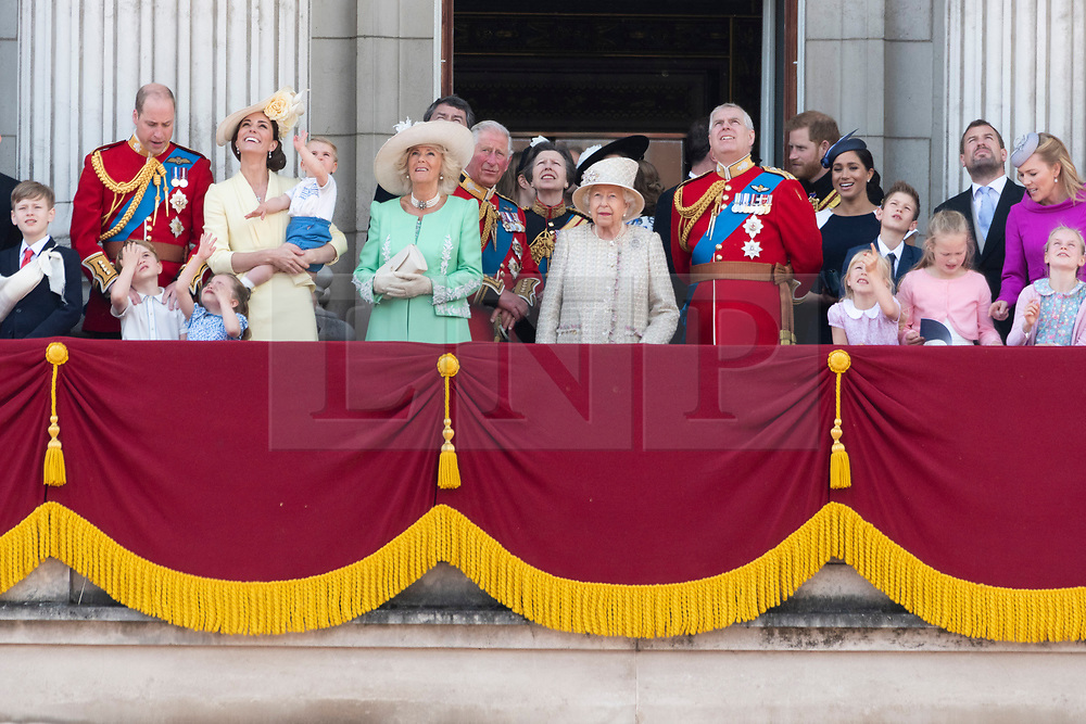 © Licensed to London News Pictures. 08/06/2019. London, UK. The Royal Family attend Trooping the Colour ceremony to mark Queen Elizabeth II's 93rd birthday. Photo credit: Ray Tang/LNP