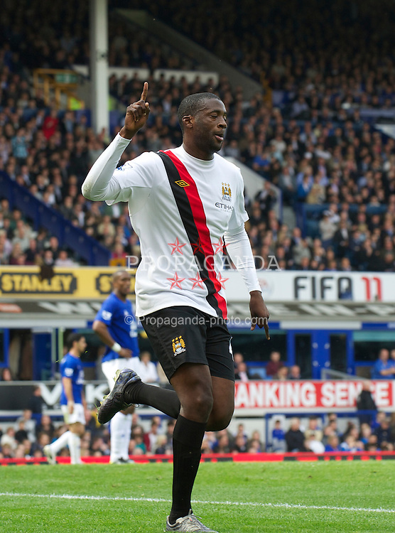 LIVERPOOL, ENGLAND - Saturday, May 7, 2011: Manchester City's Yaya Toure celebrates scoring the second goal against Everton during the Premiership match at Goodison Park. (Photo by David Rawcliffe/Propaganda)