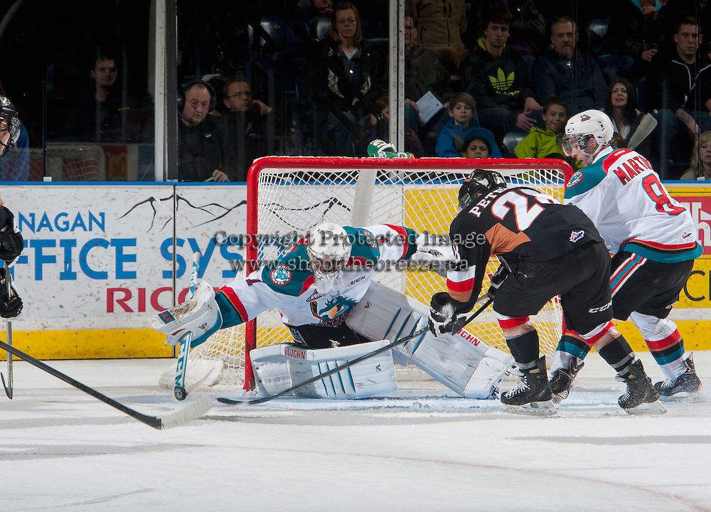 KELOWNA, CANADA - FEBRUARY 28: Jackson Whistle #1 of Kelowna Rockets makes a save against the Kelowna Rockets on February 28, 2015 at Prospera Place in Kelowna, British Columbia, Canada.  (Photo by Marissa Baecker/Shoot the Breeze)  *** Local Caption *** Jackson Whistle;