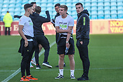 The Forest Green Rovers team inspect the pitch during the EFL Sky Bet League 2 match between Carlisle United and Forest Green Rovers at Brunton Park, Carlisle, England on 17 September 2019.