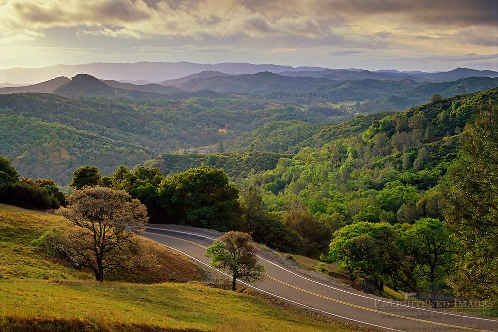 San Antonio Valley Road overlooking the Diablo Range, near the summit of Mount Hamilton, Santa Clara County, California