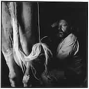 Der Küher milkt noch von Hand: nur wenig Licht fällt in den dunklen Stall. Der Schwanz der Kuh wird angebunden, damit er dem Melker nicht ins Gesicht schlägt. © Romano P. Riedo