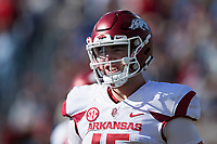 OXFORD, MS - OCTOBER 28:  Cole Kelley #15 of the Arkansas Razorbacks looks to the sidelines for the next play during a game against the Ole Miss Rebels at Hemingway Stadium on October 28, 2017 in Oxford, Mississippi.  The Razorbacks defeated the Rebels 38-37.  (Photo by Wesley Hitt/Getty Images) *** Local Caption *** Cole Kelley