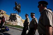 Street scene in downtown Tirana, Skenderbeg Square. Military officers