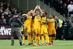 Brighton & Hove Albion's Glenn Murray (centre) celebrates scoring his side's first goal of the game