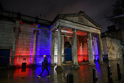 © Licensed to London News Pictures. 31/01/2020. London, UK. The Scotland Office on Whitehall lit up red, white and blue, the colours of The Union Flag in celebration of the day that the UK leaves the European Union. 51.9% of the UK population voted to leave the EU in a referendum in June 2016. Photo credit: Ben Cawthra/LNP