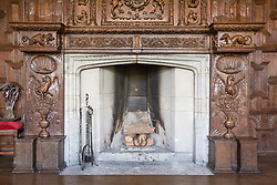 © London News Pictures. Pictured -  The fire place in the dinning room that was taken from King James I hunting lodge in the New Forest & dates back to 1605. Previously unseen pictures of Beatrix potter with her family have been unearthed during the purchase and restoration of the Lingholm Estate, the Potter family holiday home, where Beatrix potter drew inspiration for many of her most famous characters. Famous books such as Peter Rabbit and Squirrel Nutkin were inspired by the surroundings of the Cumbria estate, which is being opened to the public for the first time. Photo credit: Andrew McCaren/LNP WORDS AVAILABLE HERE http://tinyurl.com/oyb7url