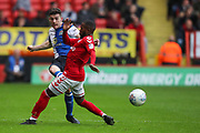 Blackburn Rovers midfielder Darragh Lenihan (26) and Charlton Athletic midfielder Mark Marshall (7) during the EFL Sky Bet League 1 match between Charlton Athletic and Blackburn Rovers at The Valley, London, England on 28 April 2018. Picture by Toyin Oshodi.