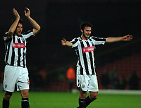 Photo: Tony Oudot/Sportsbeat Images.<br /> Watford v West Bromwich Albion. Coca Cola Championship. 03/11/2007.<br /> Bostjan Cesar and Carl Hoefkens of West Brom celebrate at the end of the game