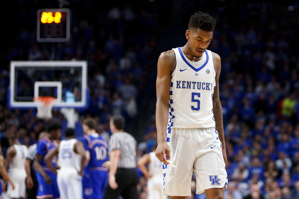 Kentucky Wildcats guard Malik Monk reacts in the closing seconds against the Kansas Jayhawks on Saturday January 28, 2017 at Rupp Arena in Lexington, Ky. Photo by Michael Reaves | Staff