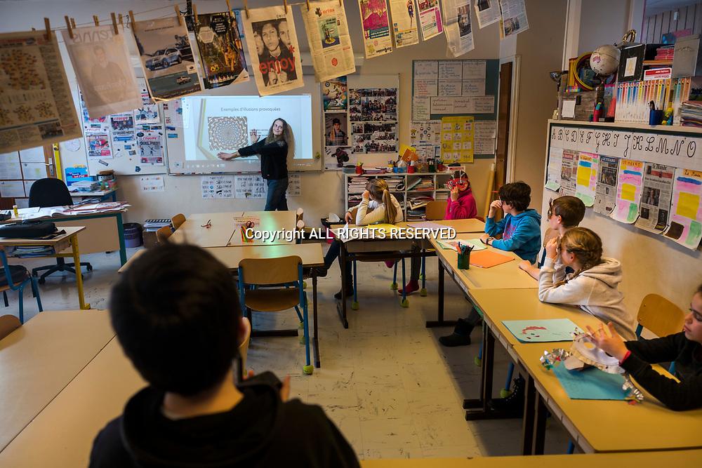 Taninges, mars 2018. Reportage à Taninges pour un atelier avec des CM2 sur le fake/check news. © Olivier Vogelsang