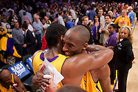 27 May 2010: Kobe Bryant of the Los Angeles Lakers hugs Ron Artest after Artest hits the game winning shot to defeat the Phoenix Suns 103-101 in Game 5 of the NBA Western Conference Finals at the STAPLES Center in Los Angeles, CA.
