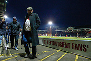 Leyton Orient fans / supporters leaving the game whilst still in play, after Leyton Orient went 2-0 down, during the EFL Sky Bet League 2 match between Leyton Orient and Scunthorpe United at the Matchroom Stadium, London, England on 16 November 2019.