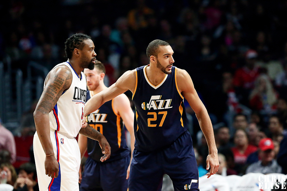 25 March 2016: Utah Jazz center Rudy Gobert (27) defends on LA Clippers center DeAndre Jordan (6) during the Los Angeles Clippers 108-95 victory over the Utah Jazz, at the Staples Center, Los Angeles, California, USA.
