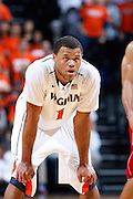 CHARLOTTESVILLE, VA - DECEMBER 4: Justin Anderson #1 of the Virginia Cavaliers looks on against the Wisconsin Badgers during the Big Ten/ACC Challenge game at John Paul Jones Arena on December 4, 2013 in Charlottesville, Virginia. Wisconsin won 48-38. (Photo by Joe Robbins) *** Local Caption *** Justin Anderson