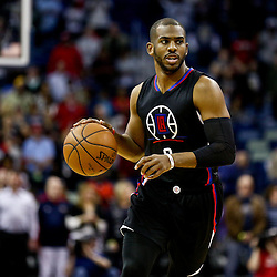 Mar 20, 2016; New Orleans, LA, USA; Los Angeles Clippers guard Chris Paul (3) drives with the ball against the New Orleans Pelicans during the first quarter of a game at the Smoothie King Center. Mandatory Credit: Derick E. Hingle-USA TODAY Sports