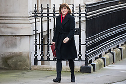 London, UK. 28 January, 2020. Baroness Nicky Morgan, Secretary of State for Digital, Culture, Media and Sport, arrives at 10 Downing Street for a National Security Council meeting convened to finalise the role of Chinese multinational technology company Huawei in the construction of the UK's 5G digital network.