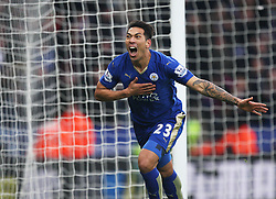 Leonardo Ulloa of Leicester City celebrates scoring his sides first goal - Mandatory byline: Jack Phillips/JMP - 27/02/2016 - FOOTBALL - King Power Stadium - Leicester, England - Leicester City v Norwich - Barclays Premier League