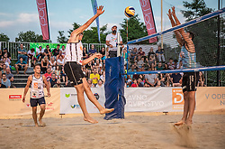 Matevz Berk and Andrej Grut vs. Crt Bosnjak and Miha Plotduring the match for 3rd place on Beach volley National Championship of Slovenia  on July 20, 2019 in Kranj, Slovenia. Photo by Urban Meglic / Sportida