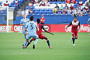 FC Dallas Forward Dominique Badji (14) blocks out NYCFC player Eric Miller(5) while Jesus Ferrieria (27) of FC Dallas and Alexander Ring (8) of NYCFC look on during a MLS soccer game, Sunday, Sept. 22, 2019, in Frisco, Tex. FC Dallas and New York FC draw 1-1 (Wayne Gooden/Image of Sport)