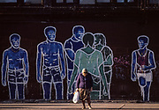 Woman and Graffiti on Wall, New York City, New York, USA, October 1984