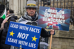 London, UK. 22 January, 2020. Steve Bray protests with fellow pro-EU activists from Stand of Defiance European Movement (SODEM) outside Parliament.