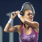 August 25, 2016, New Haven, Connecticut: <br /> Agnieszka Radwanska of Poland in action during Day 7 of the 2016 Connecticut Open at the Yale University Tennis Center on Thursday, August  25, 2016 in New Haven, Connecticut. <br /> (Photo by Billie Weiss/Connecticut Open)