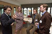 """26 APR 2004, BERLIN/GERMANY:<br /> Giovanni di Lorenzo, Chefredakteur Tagesspiegel, Dr. Silvana Koch-Mehrin, FDP Spitzenkandidatin zur Europawahl, Hajo Schumacher, freier Publizist und Autor, Claus Strunz, Chefredakteur Bild am Sonntag, (v.L.n.R.), im Gespraech, Kongress """"Politik als Marke - Politik zwischen Kommunikation und Inszenierung"""", ein Projekt der Politikfabrik, dbb Forum Berlin<br /> IMAGE: 20040426-02-190<br /> KEYWORDS: Gespräch"""