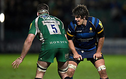 London Irish Lock, Matt Symons and Worcester Warriors Lock Donncha O'Callaghan prepare for a line out  - Mandatory by-line: Joe Meredith/JMP - 26/03/2016 - RUGBY - Sixways Stadium - Worcester, England - Worcester Warriors v London Irish - Aviva Premiership