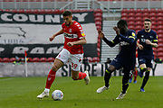 Middlesbrough forward Rudy Gestede (39) goes past Derby County defender Fikayo Tomori  during the EFL Sky Bet Championship match between Middlesbrough and Derby County at the Riverside Stadium, Middlesbrough, England on 27 October 2018.