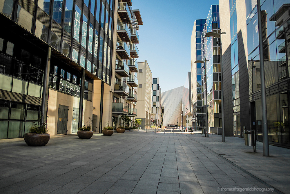 Dublin City, Ireland: Modern Office and Appartment Buildings in Dublin Docklands showcase some of the modern architecture of the Docklands City Quarter. In the distance is the side of the iconic Bord Gáis Energy Theatre, formerly the Grand Canal Theatre