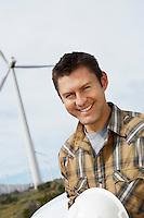 Engineer at wind farm, portrait