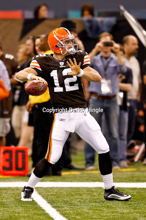 Oct 24, 2010; New Orleans, LA, USA; Cleveland Browns quarterback Colt McCoy (12) during warm ups prior to kickoff of a game against the New Orleans Saints at the Louisiana Superdome. The Browns defeated the Saints 30-17.  Mandatory Credit: Derick E. Hingle
