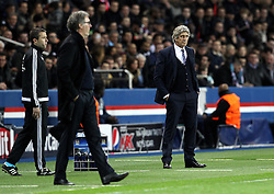 Manchester City Manager Manuel Pellegrini and Paris Saint-Germain Manager Laurent Blanc - Mandatory by-line: Robbie Stephenson/JMP - 06/04/2016 - FOOTBALL - Parc des Princes - Paris,  - Paris Saint-Germain v Manchester City - UEFA Champions League Quarter Finals First Leg