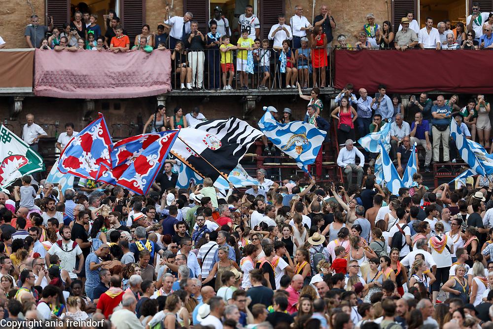 The Palio Di Siena, horse race festival at Piazza Del Campo in Siena, Tuscany, Italy.