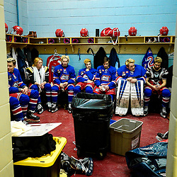 COCHRANE, ON - MAY 1:The Oakville Blades pregame on May 1, 2019 at Tim Horton Events Centre in Cochrane, Ontario, Canada.<br /> (Photo by Christian Bender / OJHL Images)
