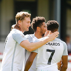AUGUST 12:  Dover Athletic against Wrexham in Conference Premier at Crabble Stadium in Dover, England. Dover's forward Kane Richards and Dover's forward Jamie Allen congratulate Dover's forward Ryan Bird after he scored for the Whites to put them a goal up. (Photo by Matt Bristow/mattbristow.net)