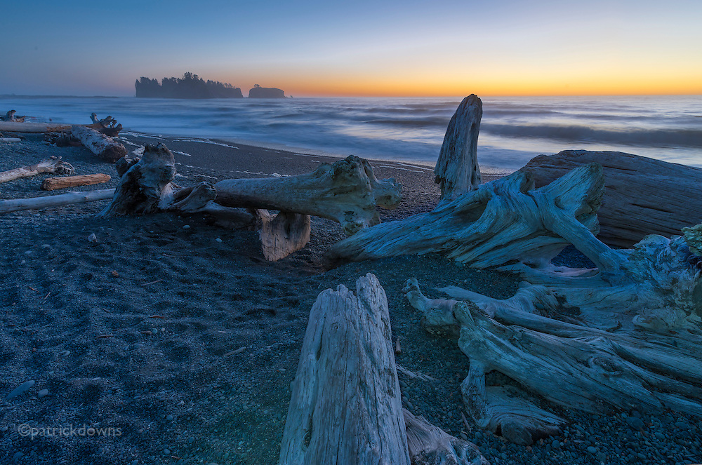 The blue hour, Rialto beach, Olympic National Park.