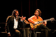 Flamenco guitarist Juan Requena and ensemble perform at Sala Chicarreros, part of the Fundacion Cajasol Jueves Flamenco (Young Flamenco) season. Pictured here alongside flamenco singer Pedro 'El Granaíno'. Seville, Spain © Rudolf Abraham