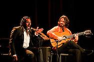 Flamenco guitarist Juan Requena and ensemble perform at Sala Chicarreros, part of the Fundacion Cajasol Jueves Flamenco (Young Flamenco) season. Pictured here alongside flamenco singer Pedro 'El Granaíno'. Seville, Spain © Rudolf Abraham