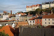 Buildings on hillside, St Peter Port, Guernsey, Channel Islands, UK