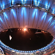 Opening Ceremony 2016 Olympic Games: A paper dove falls from the sky at Maracana Stadium during the spectacular opening ceremony for the 2016 Olympic Games on August 5, 2016 in Rio de Janeiro, Brazil. (Photo by Tim Clayton/Corbis via Getty Images)