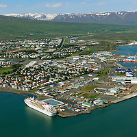 Akureyri main harbour, viewing northwest.