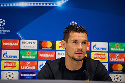 LIVERPOOL, ENGLAND - Monday, May 21, 2018: Liverpool's Dejan Lovren during a press conference at Anfield ahead of the UEFA Champions League Final match between Real Madrid CF and Liverpool FC. (Pic by Paul Greenwood/Propaganda)