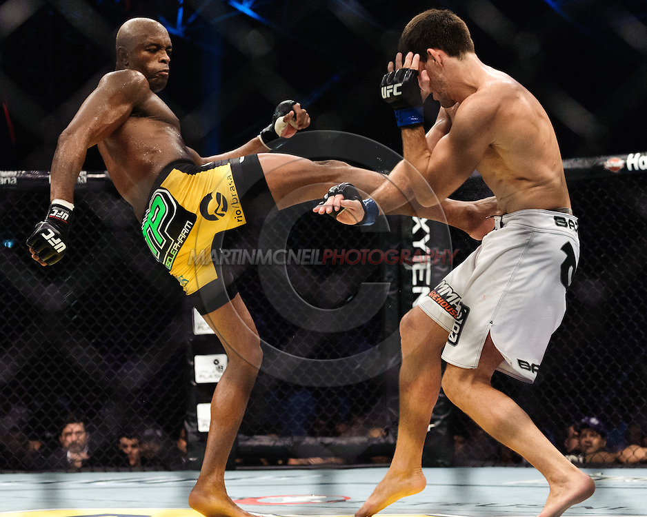 "ABU DHABI, UNITED ARAB EMIRATES, APRIL 10, 2010: Anderson Silva (black/yellow trunks) and Demian Maia (white shorts) are pictured at ""UFC 112: Invincible"" inside Ferari World, Abu Dhabi on April 10, 2010"