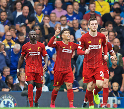 LONDON, ENGLAND - Sunday, September 22, 2019: Liverpool's Roberto Firmino (C) celebrates scoring the second goal during the FA Premier League match between Chelsea FC and Liverpool FC at Stamford Bridge. (Pic by David Rawcliffe/Propaganda)