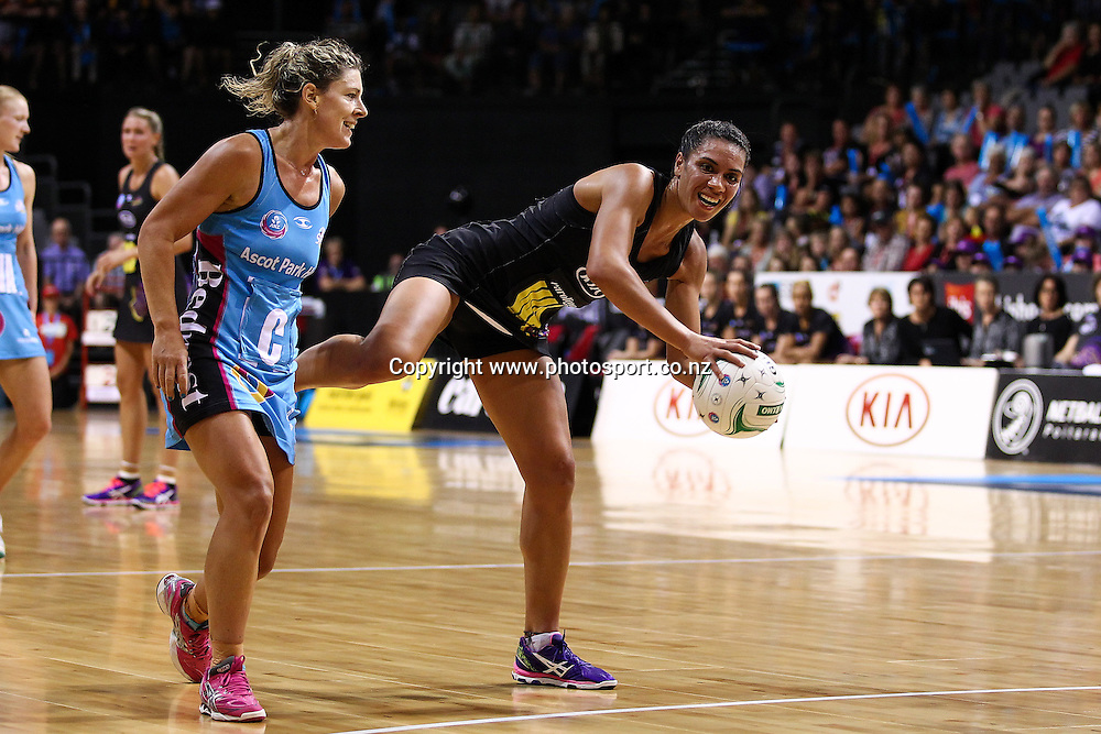 Waikato BOP Magic's Grace Rasmussen in action during the ANZ Netball Championship - Waikato BOP Magic v Southern Steel at Claudelands Arena, Hamilton on Monday 17 March 2014. Photo: Bruce Lim / www.photosport.co.nz