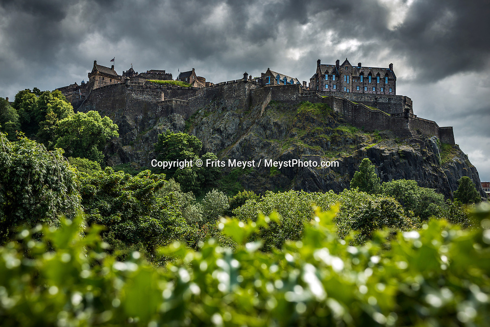 Edinburgh, Scotland, United Kingdom, July 2015. Edinburgh Castle has been at the heart of Scotland's life for well over 1,000 years. Well defended on its tall volcanic crag, it has been occupied since prehistoric times. By the medieval era it was an important royal residence, and the city growing up around it became the nation's capital. The Scottish Highlands and wild coastline in combination with the dramatic weather patterns make the region a great outdoor adventure destination for the whole family. photo by Frits Meyst / MeystPhoto.com